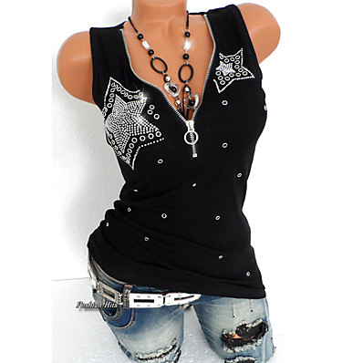 cheap Tops-Women's Daily Sports Punk & Gothic Plus Size Slim T-shirt - Solid Colored Sequins Deep V Black / Summer