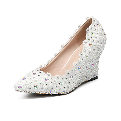 034cb8a7d0dd ADOR® Women s Shoes PU(Polyurethane) Spring   Summer Basic Pump Wedding  Shoes Wedge Heel Pointed Toe Rhinestone   Satin Flower   Sparkling Glitter  White ...