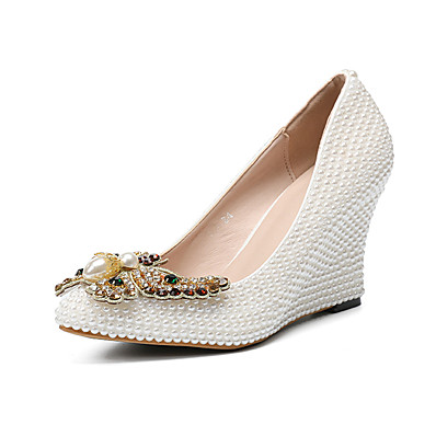 1f65f824572f ADOR® Women s Shoes PU(Polyurethane) Fall   Winter Basic Pump Wedding Shoes  Wedge Heel Pointed Toe Bowknot   Pearl   Sparkling Glitter White   Party    ...