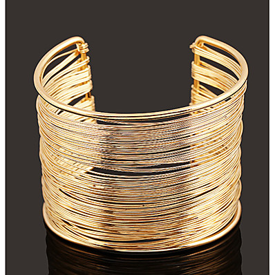 cheap Women's Jewelry-Women's Cuff Bracelet Wide Bangle Layered Simple European Fashion Alloy Bracelet Jewelry Gold / Silver For Daily
