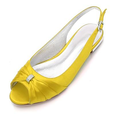 abordables Sandales-Femme Chaussures de mariage Grandes Tailles Talon Plat Bout ouvert Confort A Bride Arrière Mariage Soirée & Evénement Satin Strass Couleur Pleine Blanche Noir Violet / EU39