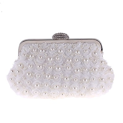 4ae6f7d16a058 ADOR® Women s Bags Polyester Evening Bag Pearls   Flower Floral Print White