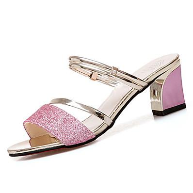 832f75af4 ADOR® Women s PU(Polyurethane) Summer Slingback Sandals Chunky Heel Black    Silver   Pink