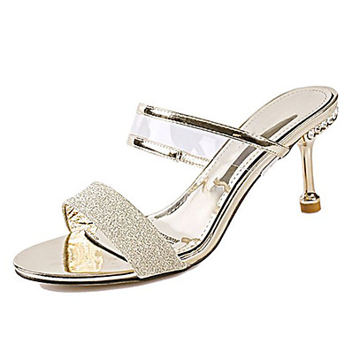 b5a374b4e133 ADOR® Women s PU(Polyurethane) Summer Ankle Strap Sandals Stiletto Heel  Round Toe Gold   Silver