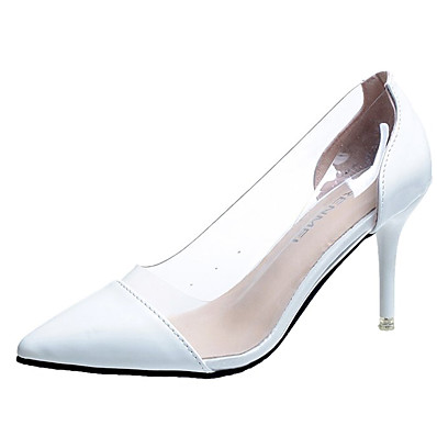 cheap Pumps & Heels-Women's Heels Stiletto Heel Pointed Toe PU Basic Pump Summer Black / White / Red / Wedding