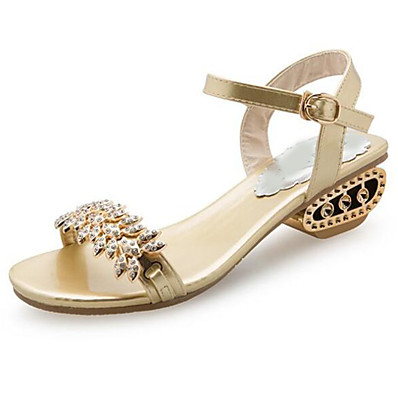 e5b8b92423c6 ADOR® Women s Shoes PU(Polyurethane) Spring   Summer Ankle Strap Sandals  Block Heel Open Toe Rhinestone   Buckle Gold   Black   Silver