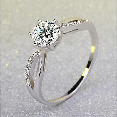 preiswerte Damenschmuck-Ring Stilvoll Golden Silber Silber 2 Messing Platiert Diamantimitate Liebe Freude damas Elegant Romantisch 1pc 5 6 7 8 9 / Damen / Solitär