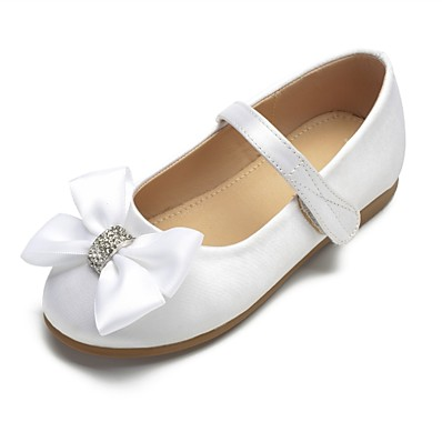 f9db93488887 ADOR® Girls  Shoes Satin Spring   Summer Ballerina   Flower Girl Shoes  Flats Bowknot   Sparkling Glitter   Buckle for Kids White   Ivory   Wedding