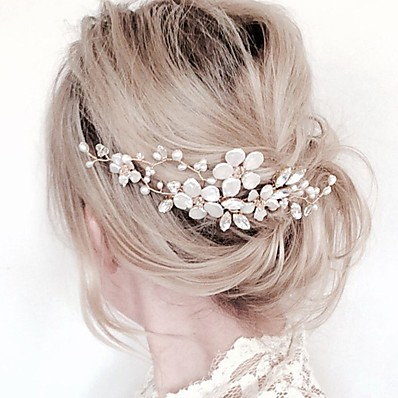 cheap Women's Jewelry-Women's Hair Combs For Party Ceremony Flower Criss Cross Crystal Fabric Alloy Silver