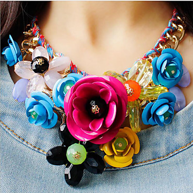 cheap Women's Jewelry-Women's Multicolor Statement Necklace Bib necklace Braided Bib Flower Rainbow Ladies Luxury Chunky Color Synthetic Gemstones Resin Plastic Rainbow White Black Red Fuchsia Necklace Jewelry 1pc For