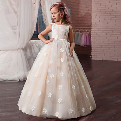 cheap Kids-Kids Little Girls' Dress Floral Tulle Dress Party Holiday Easter Backless Mesh Print White Purple Blushing Pink Maxi Sleeveless Vintage Sweet Dresses Fall Spring Regular Fit
