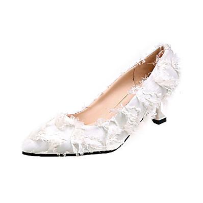 431fee1c74b ADOR® Women s Cotton Summer Basic Pump Heels Kitten Heel Pointed Toe Black    Beige   Pink   Wedding   Daily