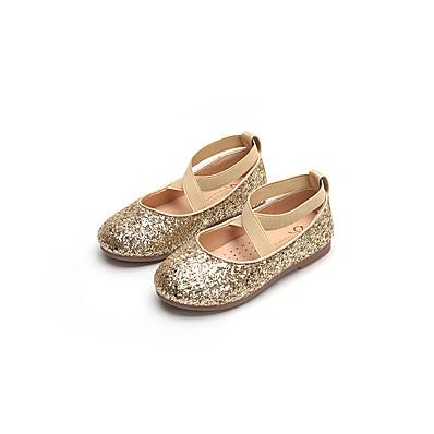 4671fa7e1ef ADOR® Girls  Shoes PU(Polyurethane) Spring   Summer Comfort   Flower Girl  Shoes Flats Walking Shoes Sequin for Teenager Gold   Black