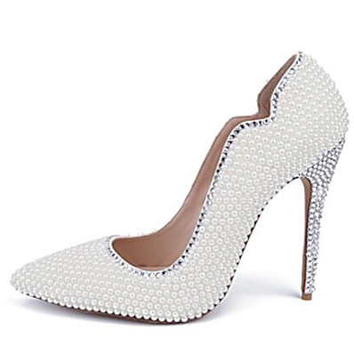 f9aab7d92831 ADOR® Women s Shoes Patent Leather Spring   Summer Basic Pump Wedding Shoes  Stiletto Heel Pointed Toe Pearl   Sparkling Glitter White