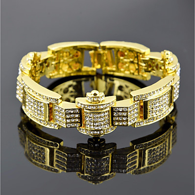 cheap Men's Jewelry-Men's Cubic Zirconia Tennis Bracelet Wide Bangle Stylish Link / Chain Crown Luxury European Hip-Hop Rhinestone Bracelet Jewelry Black / Gold / Silver For Street Gift