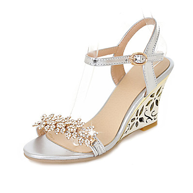 0a4a9d116 ADOR® Women s Wedge Sandals PU(Polyurethane) Spring   Summer Casual Sandals  Wedge Heel Open Toe Rhinestone   Buckle Gold   Silver   Wedding   Party    ...