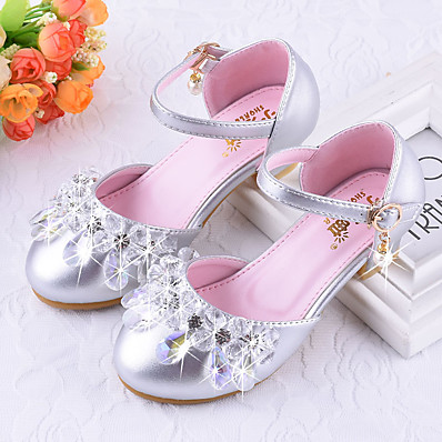 2fc635cac839 ADOR® Girls  Shoes PU(Polyurethane) Spring   Fall Tiny Heels for Teens Heels  Crystal for Kids Silver   Pink   Polyester Rubber