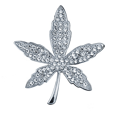 cheap NewIn-Men's Cubic Zirconia Brooches Classic Stylish Leaf Creative Luxury Fashion British Brooch Jewelry Gold Silver For Party Daily