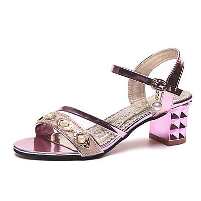 73cb62dbd ADOR® Women s PU(Polyurethane) Summer Ankle Strap Sandals Chunky Heel Gold    Silver   Pink