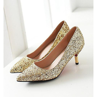 cheap Pumps & Heels-Women's Heels Glitter Crystal Sequined Jeweled Low Heel Daily Denim White Black Gold