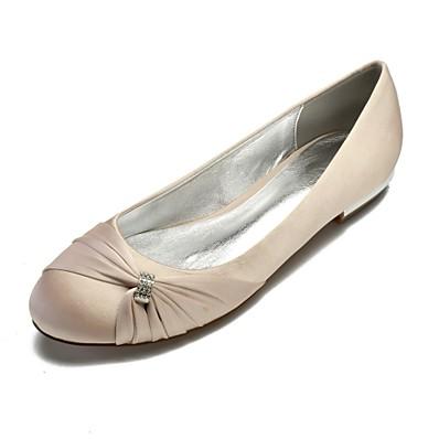 cheap Sandals-Women's Wedding Shoes Plus Size Flat Heel Round Toe Comfort Ballerina Wedding Party & Evening Satin Rhinestone Side-Draped Solid Colored White Black Purple