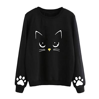 cheap Sweatshirt Hoodie-Women's Going out Long Sweatshirt - Character Black S