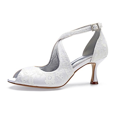 9201cff8e9b0 ADOR® Women s Comfort Shoes Lace   Satin Spring   Summer Wedding Shoes  Flared Heel Peep Toe Sparkling Glitter Silver   Champagne   Ivory   Party    Evening
