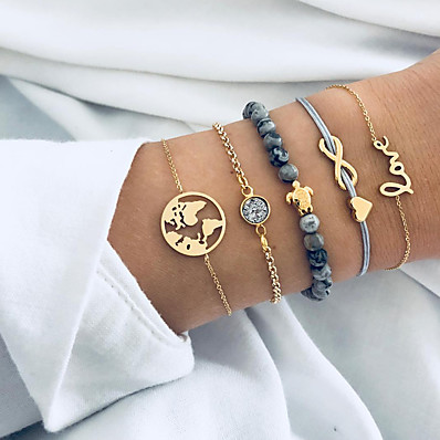 cheap Women's Jewelry-5pcs Women's Chain Bracelet Bead Bracelet Pendant Bracelet Layered Maps Letter Turtle Ladies Vintage Punk Korean Sweet Resin Bracelet Jewelry Gold For Gift Daily Street Going out