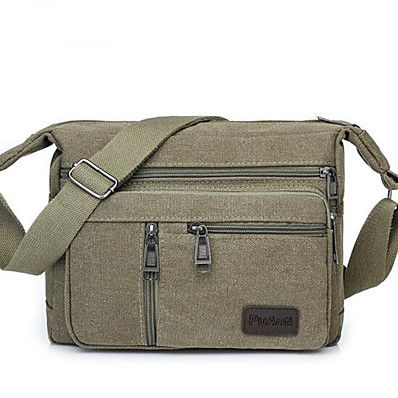 cheap ACCESSORIES-Men's Bags Canvas Shoulder Messenger Bag Zipper Solid Color Canvas Bag Daily Outdoor Black Army Green Khaki Brown