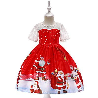 cheap Kids-Kids Toddler Little Girls' Dress Cartoon Christmas Christmas Party Holiday Red Knee-length Short Sleeve Active Vintage Dresses Summer Slim