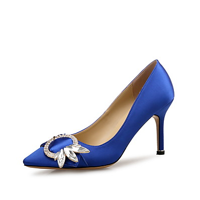cheap SHOES & ACC-Women's Heels Pumps Spring & Summer Stiletto Heel Pointed Toe Sweet Minimalism Wedding Party & Evening Crystal Satin Burgundy / Blue / Black