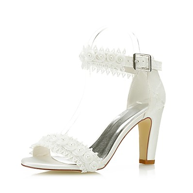 57406cde4a8 ADOR® Women s Pumps Lace   Satin Spring   Summer Sweet Sandals Stiletto Heel  Peep Toe Satin Flower Ivory   Wedding   Party   Evening   Party   Evening