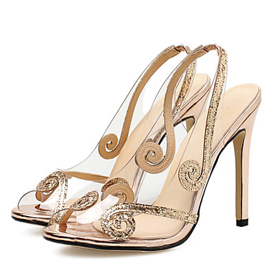 7b30f9881f75 ADOR® Women s Transparent Shoes PVC(Polyvinyl chloride) Summer Sweet Sandals  Stiletto Heel Peep Toe Sequin Silver   Champagne   Party   Evening    Wedding ...