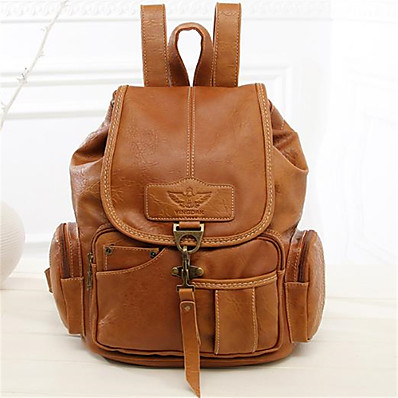 cheap Bags-Women's PU Leather School Bag Rucksack Commuter Backpack Large Capacity Buttons Zipper Daily Backpack Dark Brown Black Brown