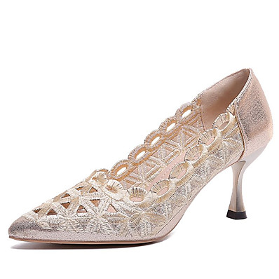 cheap Pumps & Heels-Women's Heels Pumps Flared Heel Pointed Toe PU Fall Black / Gold / Wedding