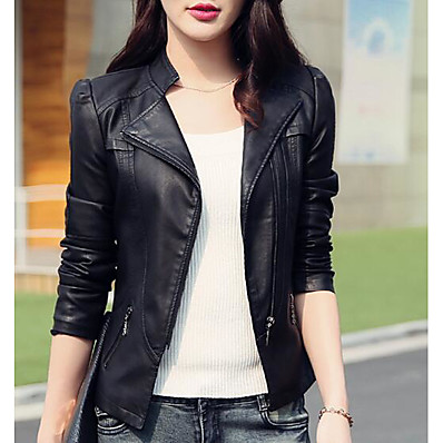 cheap OUTERWEAR-Women's Daily Basic Short Leather Jacket, Solid Colored Stand Long Sleeve PU Black