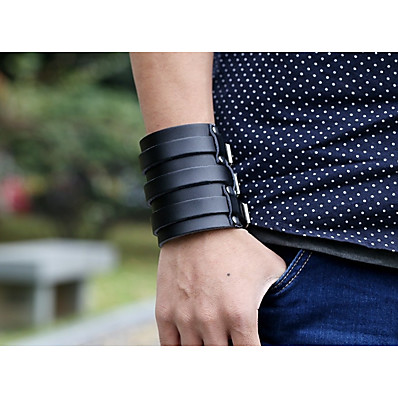 cheap Men's Jewelry-Men's Vintage Bracelet Leather Bracelet Layered Retro Creative Stylish Vintage Punk Genuine Leather Bracelet Jewelry Black For Street Gift