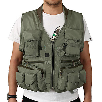cheap Fishing-Men's Fishing Vest Outdoor Multi-Pockets Quick Dry Lightweight Breathable Vest / Gilet Spring, Fall, Winter, Summer Photography Camping & Hiking Traveling Army Green Khaki Green / Sleeveless