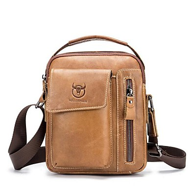 cheap Bags-Men's Bags Cowhide Shoulder Messenger Bag Crossbody Bag Daily Outdoor Black Brown
