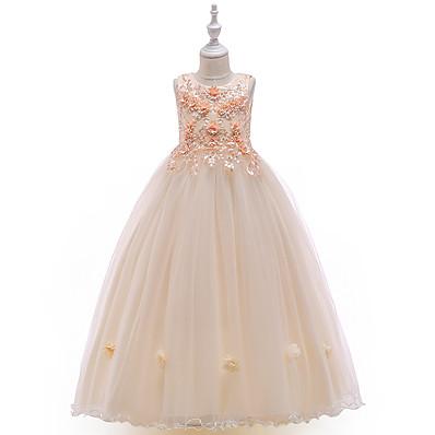 cheap Kids-Kids Little Girls' Dress Floral Pleated Mesh Blue Gray Red Knee-length Sleeveless Cute Dresses Children's Day Slim