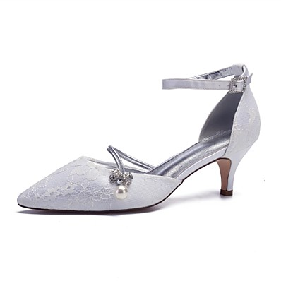1eb180dc0c2 ADOR® Women s Comfort Shoes Lace   Satin Spring   Summer Wedding Shoes  Kitten Heel Pointed Toe Imitation Pearl   Sparkling Glitter Silver    Champagne ...