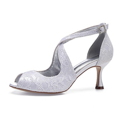 93474402677 ADOR® Women s Comfort Shoes Lace   Satin Spring   Summer Wedding Shoes  Flared Heel Peep Toe Sparkling Glitter White   Ivory   Party   Evening