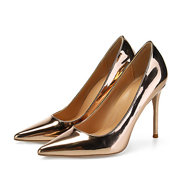 ec5ef7725e89 ADOR® Women s Pumps Patent Leather Spring   Fall British   Minimalism Heels  Stiletto Heel Pointed Toe Gold   Silver   Wedding   Party   Evening