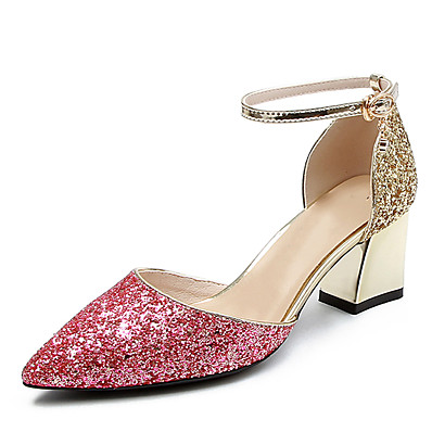 fa612ca544a2 ADOR® Women s D Orsay   Two-Piece Synthetics Summer Sweet Heels Chunky Heel  Pointed Toe Sequin   Buckle Gold   Silver   Pink   Party   Evening