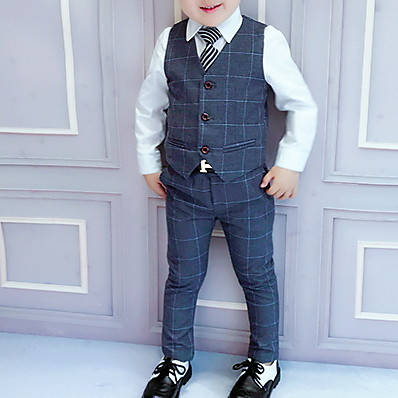 cheap Boys' Clothing-Kids Boys' Suit & Blazer Suit Vest Clothing Set 3 Pieces Long Sleeve Blue Dark Gray Plaid Party Wedding Prom Outfits Tuxedo Formal Regular 3-8 Years / Cotton