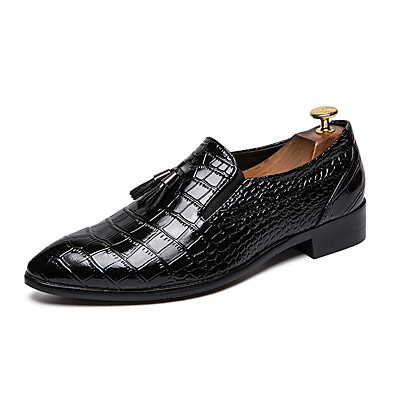 ba3bbe756d9 ADOR® Men s Leather Shoes Leather Winter Casual   British Loafers   Slip-Ons  Height-increasing Black   Wine   Tassel   Party   Evening