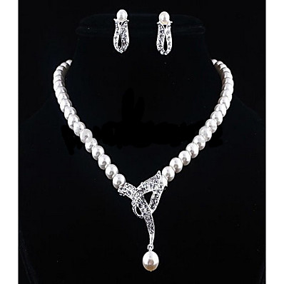 cheap Women's Jewelry-Women's White Cubic Zirconia Drop Earrings Pearl Necklace Beads Flower Ladies Stylish Romantic Elegant Bridal Pearl Rhinestone Earrings Jewelry Silver For Wedding Gift 1 set