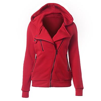 cheap Sweatshirt Hoodie-Women's Basic / Street chic Cotton Slim Hoodie Jacket - Solid Colored Navy Blue XL / Fall / Winter