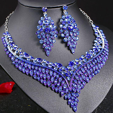 cheap Women's Jewelry-Women's Sapphire Crystal Statement Necklace Earrings Bridal Jewelry Sets Leaf Ladies Stylish Luxury Unique Design Dangling Elegant Rhinestone Earrings Jewelry Dark Blue / Rainbow / Red For Party Gift