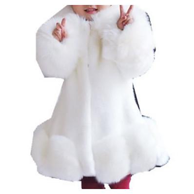abordables Vêtements Filles-Enfants Fille Basique Couleur Pleine Manches Longues Fausse Fourrure Costume & Blazer Blanche